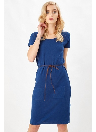 Peraluna Peraluna Saks Mavi Natur Triko Kadın Elbise Saks